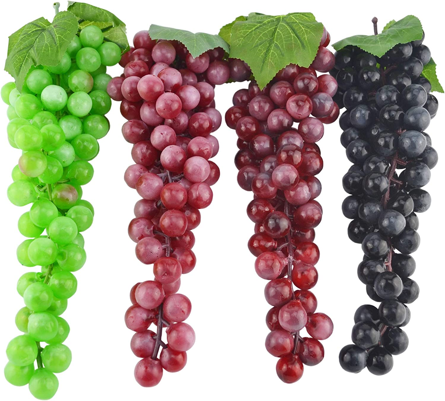 JEDFORE 12 Inches Artificial Grapes Cluster Rubber Frosted Grape Bundles Decorative Grapes Bunches for Vintage Wedding Favor Fruit Wine Decor Faux Fruit Props (Black, Red, Green, Purple - 4 Pack)