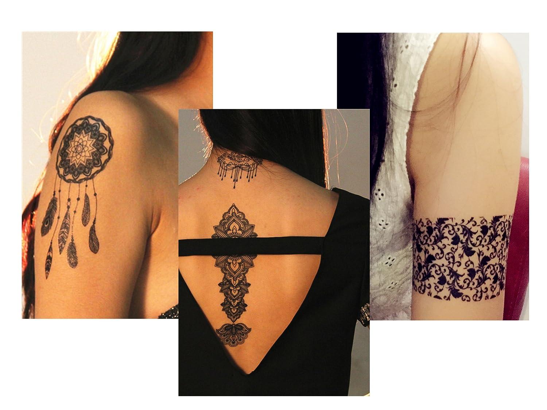 ChicTats Tatuajes temporales de Encaje Negros – Arte Corporal y ...