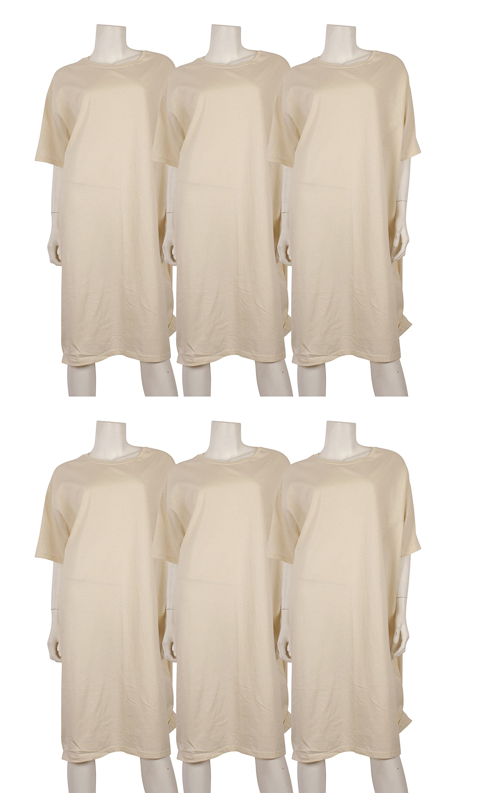 6 Pack of Women's Hanes Extra Long 100% Cotton Beige Nightshirt