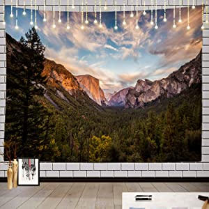 Batmerry Yosemite Tapestry, Green Valley Mountain Landscape Blue Nature Beautiful Forest Picnic Mat Beach Towel Wall Art Decoration for Bedroom Living Room Dorm, 51.2 x 59.1 Inches, Green Blue