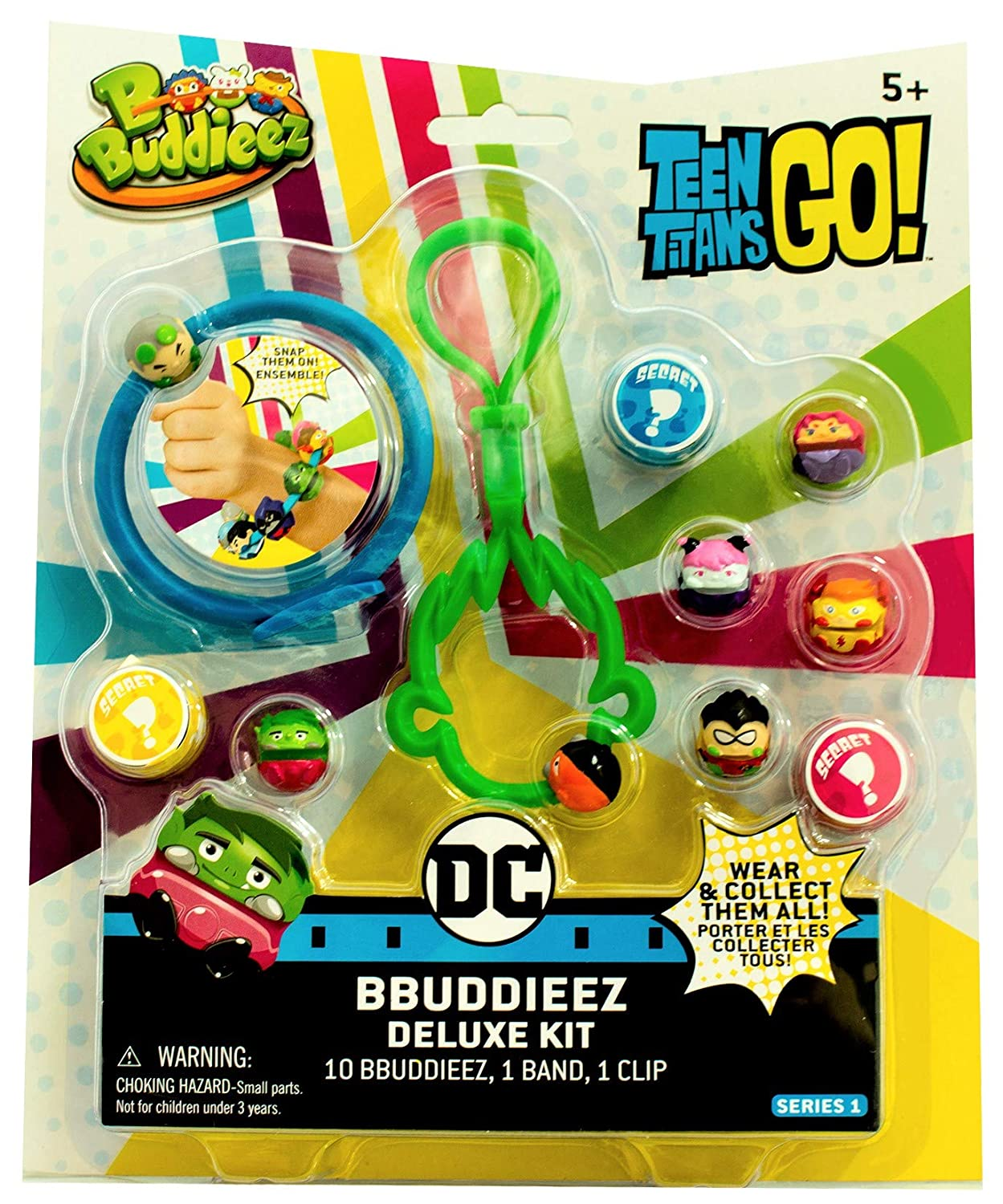 Bbuddieez Teen Titans Go Deluxe Set with Band /& Robin Clip