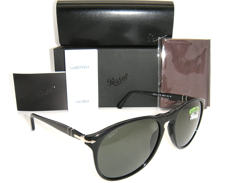3b8c1125ae Persol 9649 Sunglasses Black Frame Green Polarized PO 9649-S 95 58 55mm  New  Amazon.co.uk  Clothing