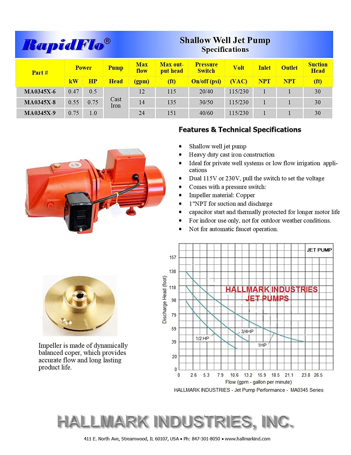 1//2 hp 115V//230V 12.5 GPM Heavy Duty Hallmark Industries MA0345X-6 Shallow Well Jet Pump with Pressure Swith