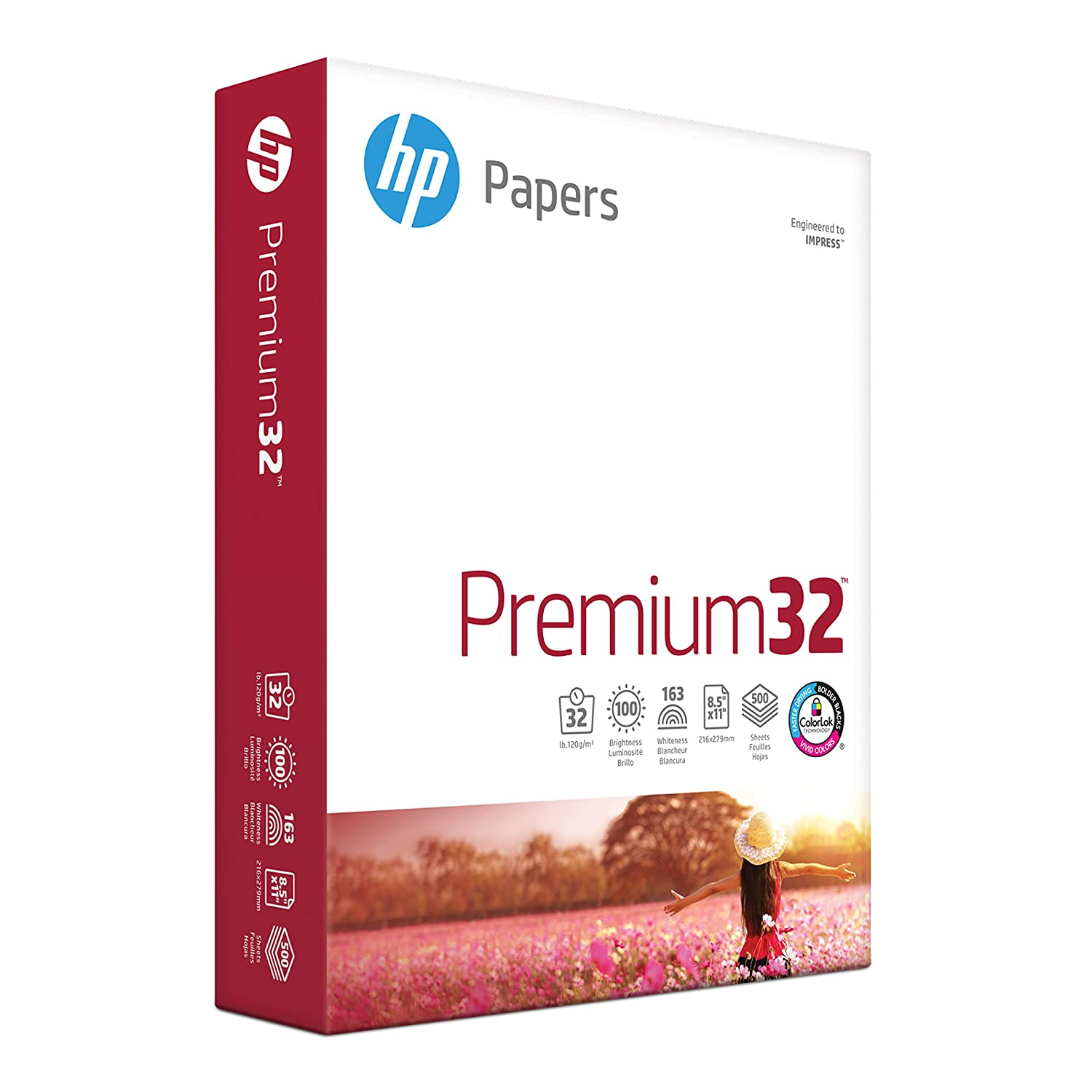 HP Premium 32lb Presentation Paper, 8.5x 11, 1 Ream, 500 Sheets, Made in USA From Forest Stewardship Council (FSC) Certified Resources, 100 Bright, Acid Free, Engineered for HP Compatibility, 113100R