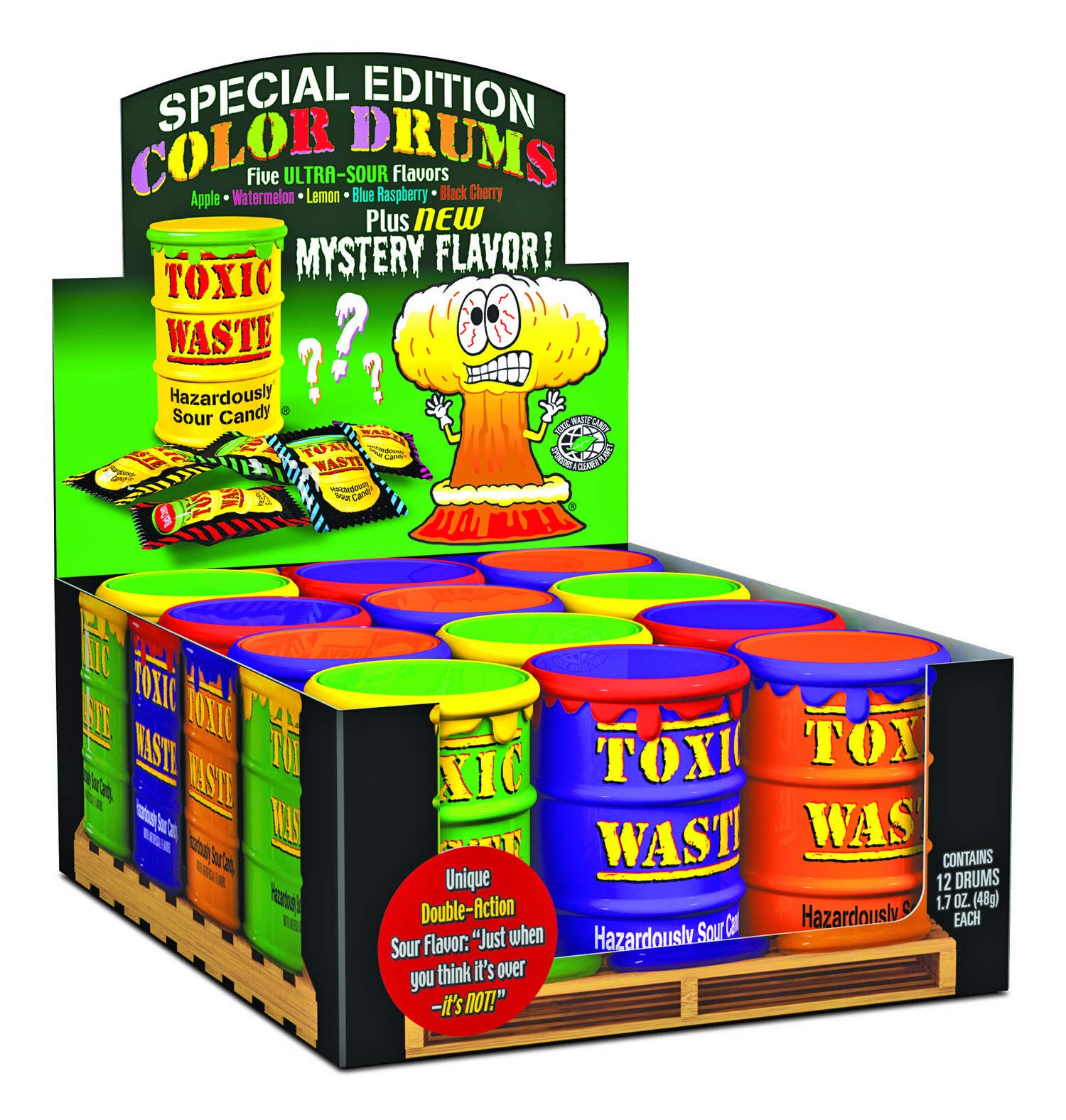TOXIC WASTE Special Edition Color Drums, Assorted Flavors, 1.7 Ounce (Pack of 12)