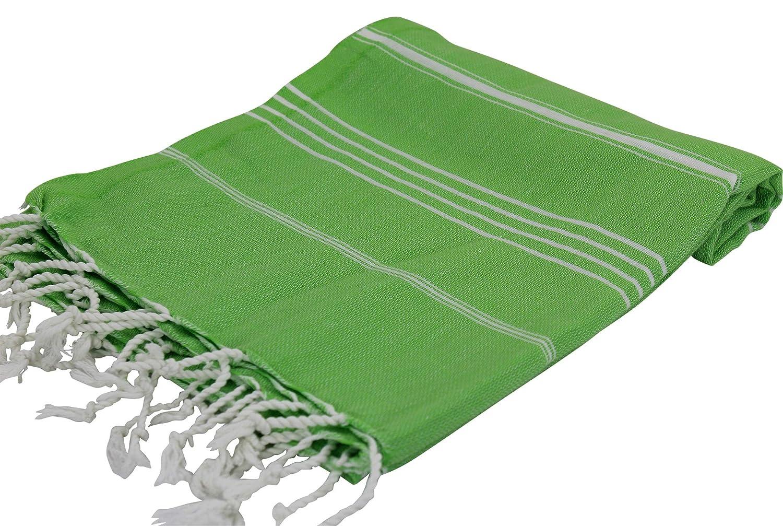 Pescara Turkish Bath Towels 37x70 Inches Prewashed 100% Cotton Super Soft Turkish Towel Peshtemal Thin Travel Bath Sauna Beach Camping Super Soft Absorbent Light (Mid Neon Green)