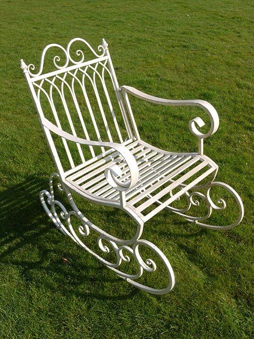 1f67ffe06 Diseño Vintage para acabados metálicos en blanco envejecido Metal silla  mecedora de jardín