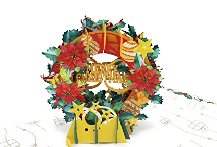 Amazon Com Poplife Holiday Wreath Pop Up Christmas Card W Merry