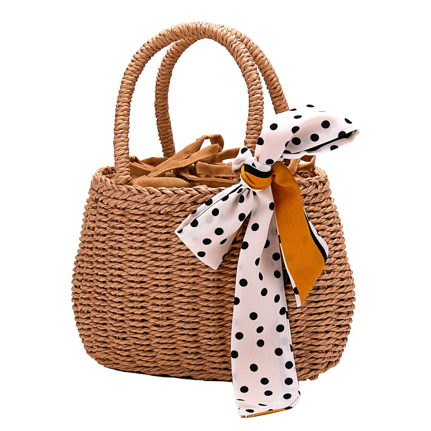 Handwoven Bag Straw Woven Handbag Tote Natural Top-Handle Bags With Scarves For Women Girls (straw bag)