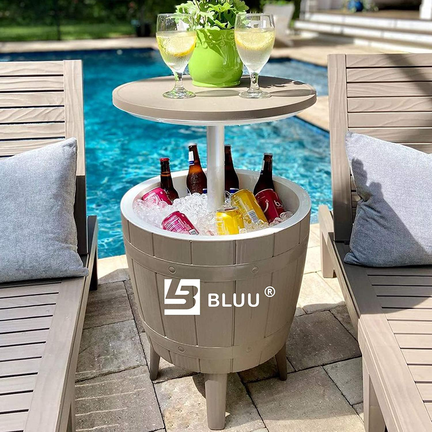 BLUU Outdoor Patio Cooler Bar, Outdoor Patio Furniture and Hot Tub Side Table, Adjustable Height Tables with 10 Gallon Coffee, Beer and Wine Cooler, Waterproof & Steady, Grey
