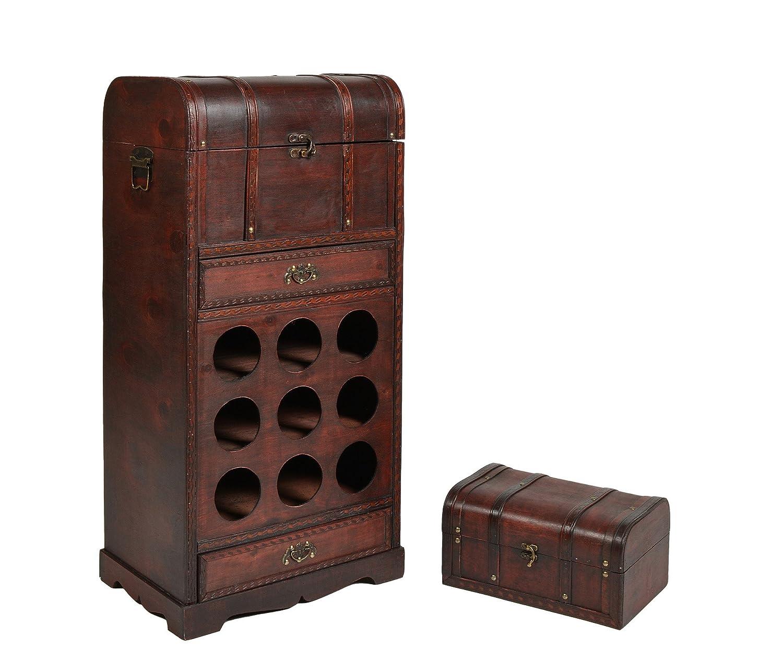 ts-ideen Weinregal für 9 Flaschen mit Schubladen Koffer ...