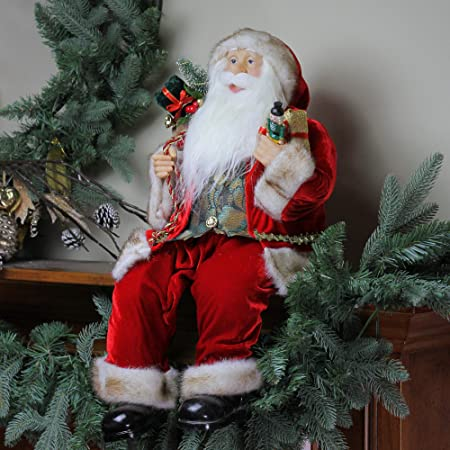 Northlight 24 Chic Sitting Santa Claus Christmas Figure with Gift Bag and Presents
