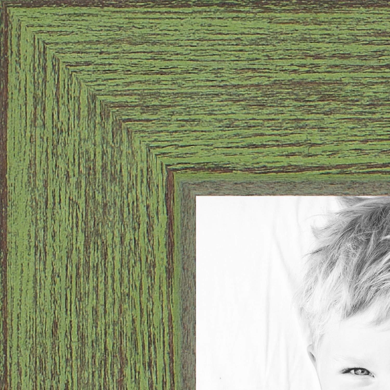 ArtToFrames 18x18 inch Jade Rustic Barnwood Wood Picture Frame, 2WOM0066-1343-YGRN-18x18