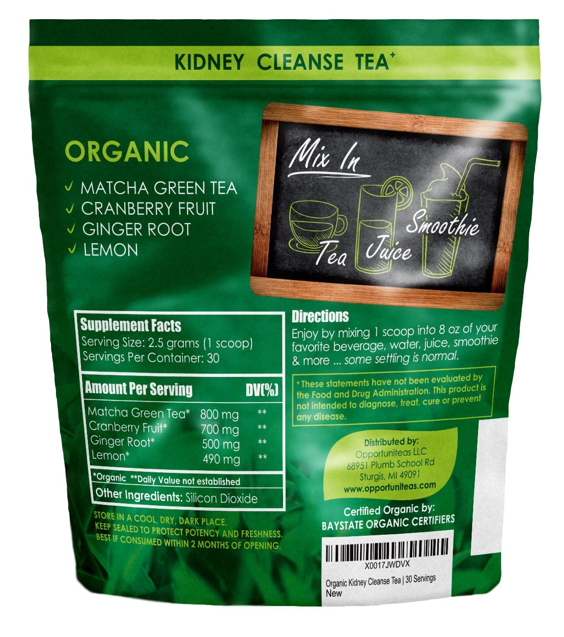 Organic Kidney Cleanse Tea - 4 Superfoods to Mix in Smoothie or Drink -  Matcha Green Tea,