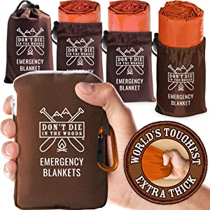 World's Toughest Emergency Blankets [4-Pack] Extra-Thick Thermal Mylar Foil Space Blanket   Waterproof Ultralight Outdoor Survival Gear For Hiking, Camping, Running, Emergency, First Aid Kits [Orange]
