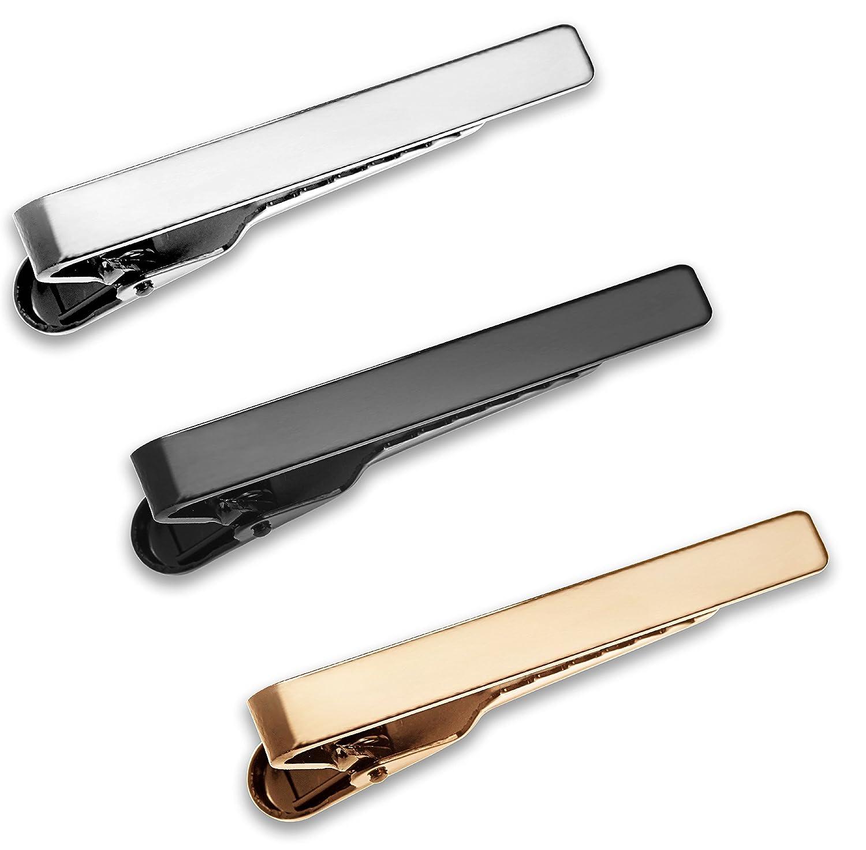 Set 3 Pcs Pasador de Corbatas Estrechas 4cm Pisacorbatas Skinny Plateado Dorado y Negro en Caja de Regalo