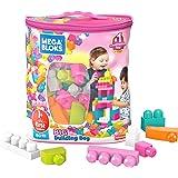 Mega Bloks Bolsa Grande de Construcción Rosa 80 bloques Juguete de Construcción para niñas de 1 a 5 años