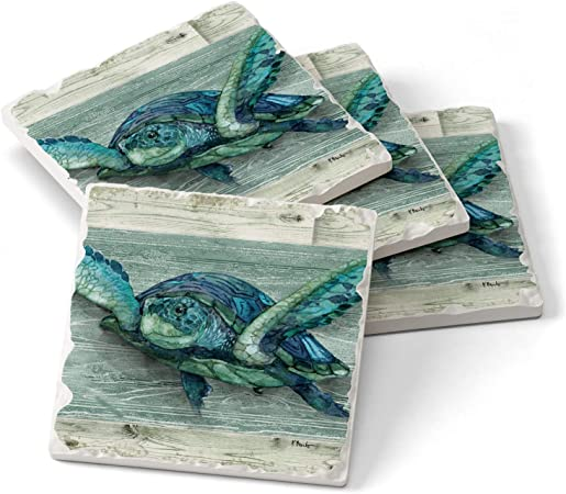 Amazon Com Counterart Northpoint Turtle Single Image Absorbent Stone Tumbled Tile Coasters 4 Pack Made In The Usa Home Kitchen