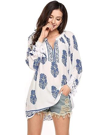 T Robe Loose Tunique Imprimé V Blouse Mini Boheme Col Meaneor Shirt Yg76ybfv
