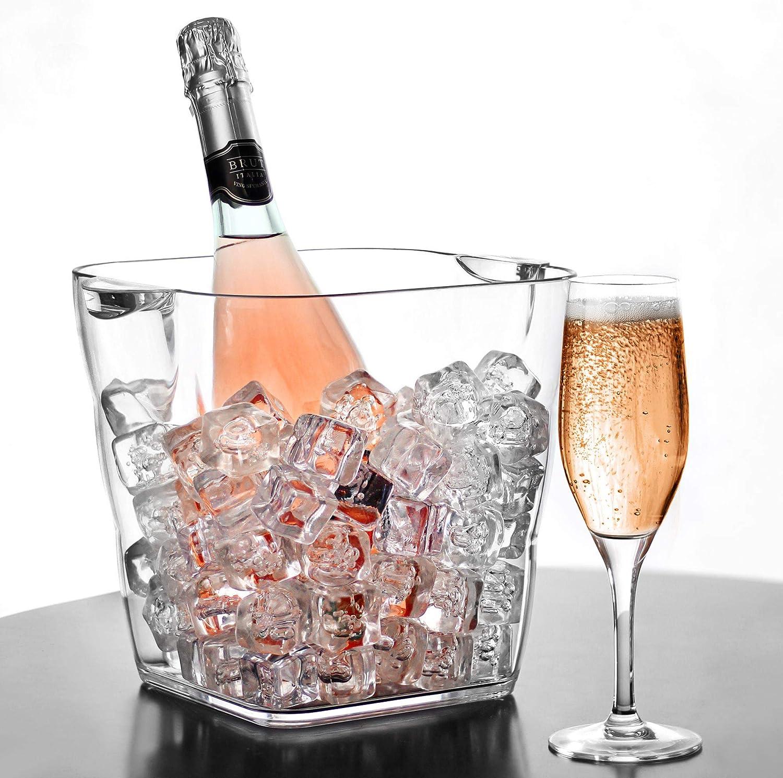 bar@drinkstuff Seau à vin,champagne en acrylique ,forme incurvé, peut contenir 2 x 75 cl bouteille de vin ou 1 champagne