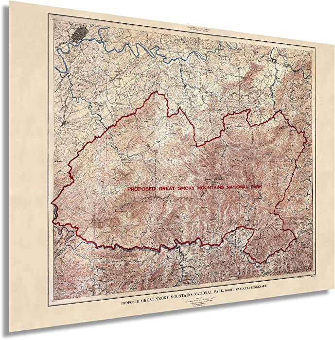 Historix Vintage 1926 Proposed Great Smoky Mountains National Park - 18 x 24 Inch Vintage Map Wall Art - Wall Decor - U.S. Geological Survey Planning Map - North Carolina Tennessee Poster (3 sizes)