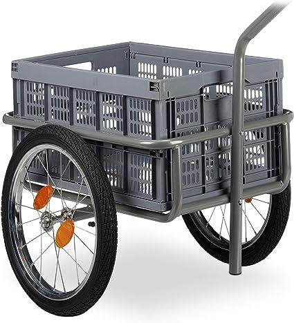 Relaxdays Remolque para Bicicleta, Carro de Mano, Caja Plegable, Acoplamiento de Bola, hasta 50kg, Gris