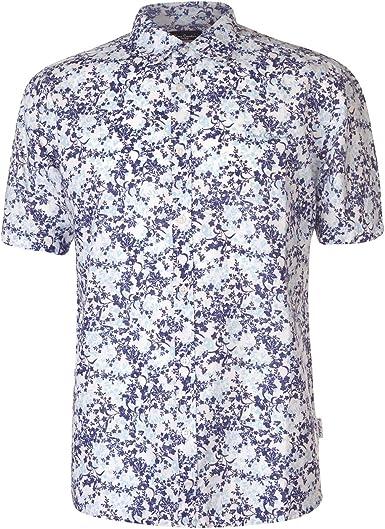Pierre Cardin - Camisa de lino estampada de manga corta para hombre: Amazon.es: Ropa y accesorios