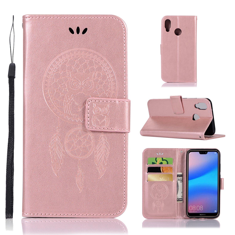 sinogoods para Huawei P20 Lite Funda Cuero De La PU Magn/ético Capirotazo Billetera Apoyo Bumper Protector Cover Funda Carcasa Case Gris