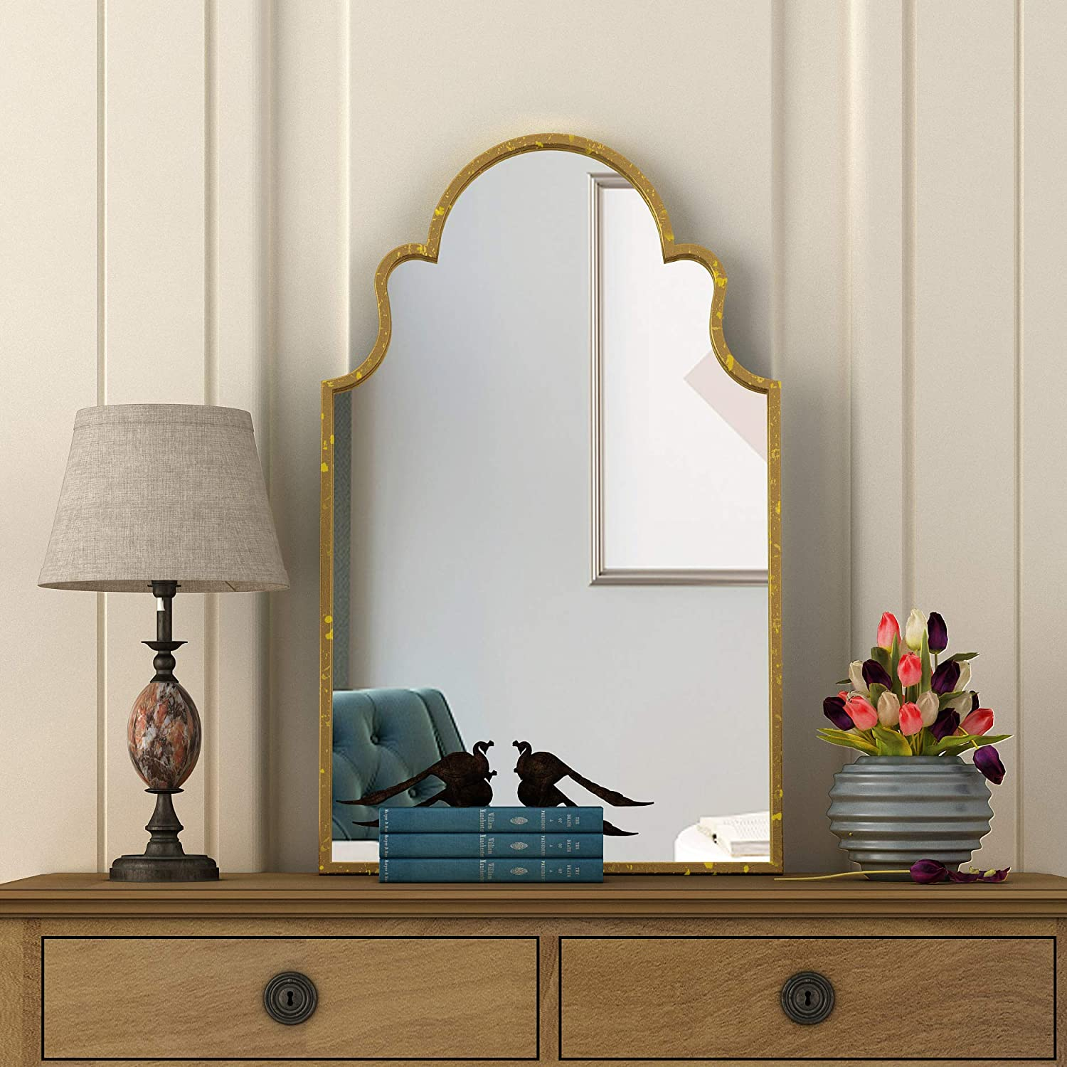 NXHOME Metal-Frame Accent Wall Mirror - Decorative Mirror Gold Vanity Wall Mounted Mirror for Living Room Bathroom Entryway 35.5×21.7 Inch