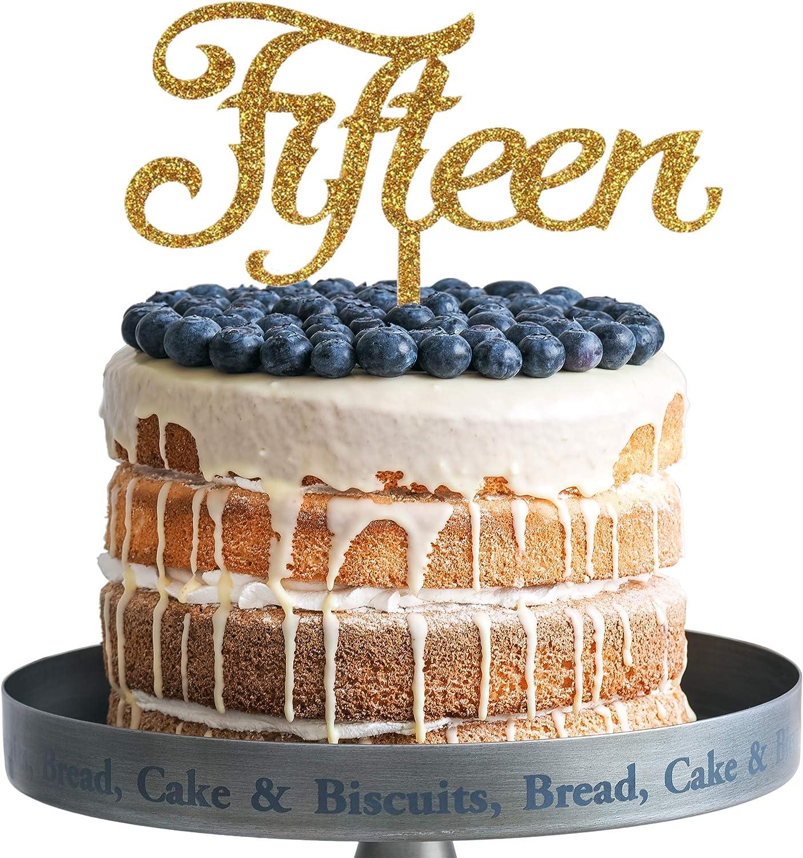 Tremendous Amazon Com Fifteen Happy Birthday Cake Topper Gold Glitter Funny Birthday Cards Online Fluifree Goldxyz