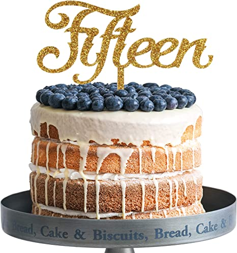 Cool Amazon Com Fifteen Happy Birthday Cake Topper Gold Glitter Birthday Cards Printable Riciscafe Filternl