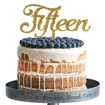 Amazon Fifteen Happy Birthday Cake Topper Gold Glitter Acrylic