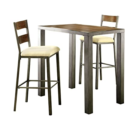 HOMES: Inside + Out Vernetta Industrial 3 Piece Bar Table Set, Weathered Oak