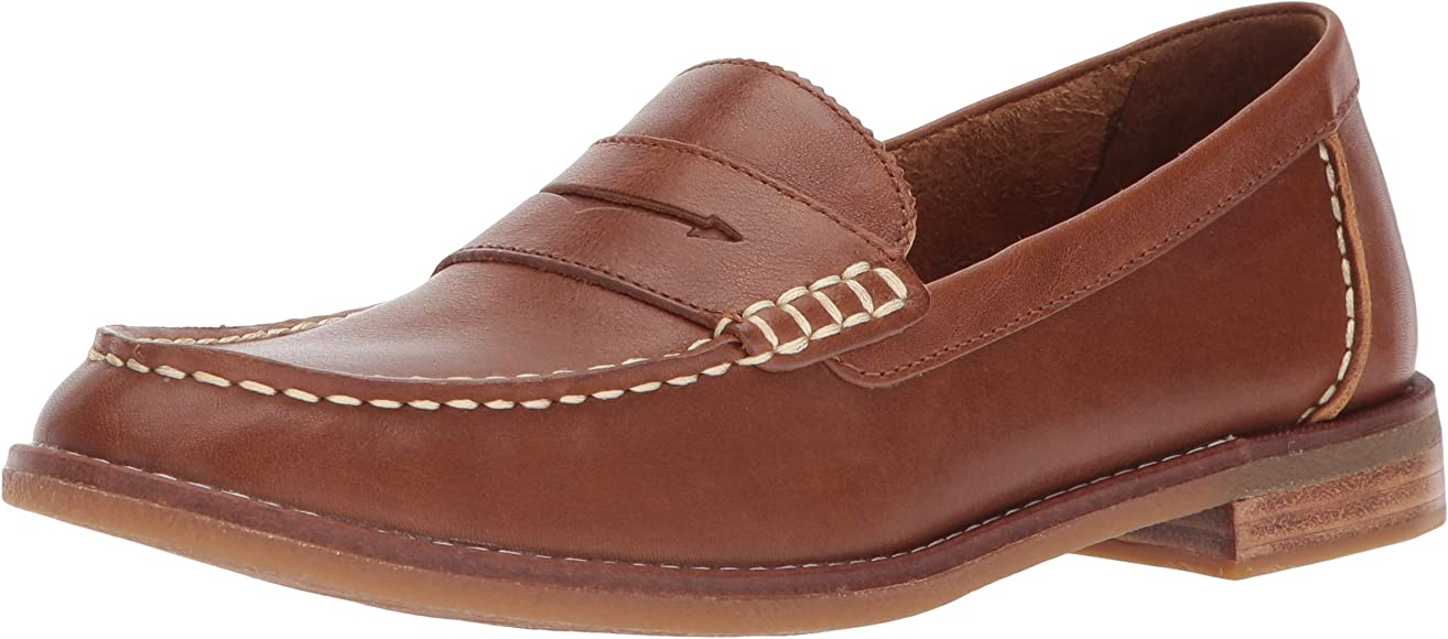 Sperry Womens Seaport Penny Loafer, Tan