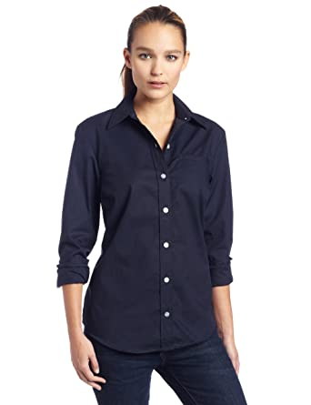 Dickies Womens Long Sleeve Stretch Poplin Shirt at Amazon Women's ...