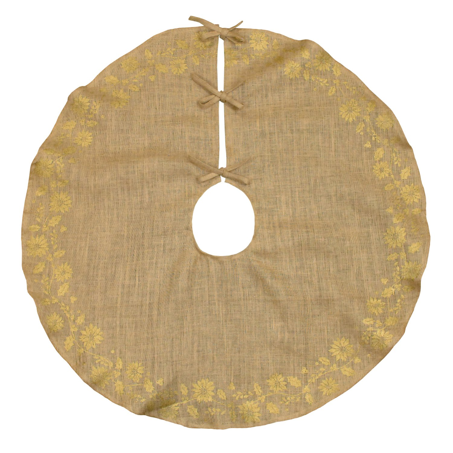 DII Jute Traditional Burlap Christmas Under The Tree Skirt Holiday Décor, Perfect For Any Tree, 47 Round - Gold Holly Printed CAMZ34232