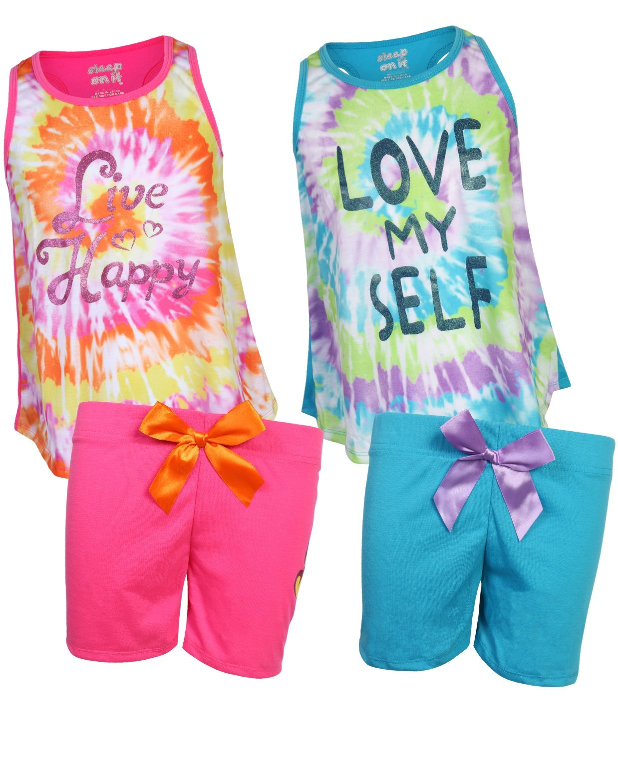 Sleep On It Girls 4-Piece Summer Pajama Short Set (2 Full Sets) Tie-Dye, Size 7/8'