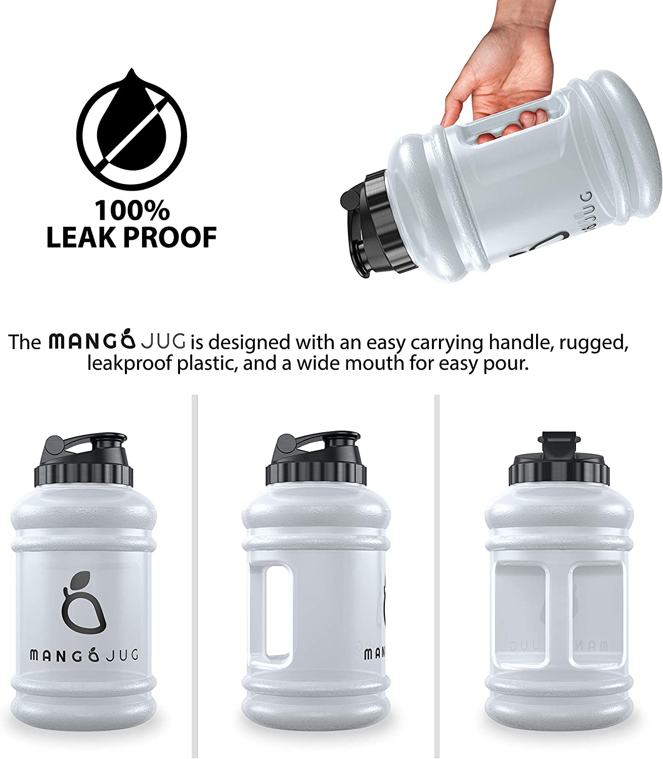 Mango 2.2 Litre Water Bottle Dieting Safe /& BPA Free Durable /& Extra Strong Large Water jug Outdoor Sports Hiking /& Office Bodybuilding Ideal for Sports Gym