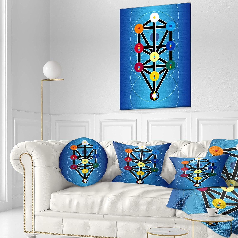 Sofa Throw Pillow 12 x 20 Designart CU7873-12-20 Cabala Jewish Symbols Abstract Lumbar Cushion Cover for Living Room