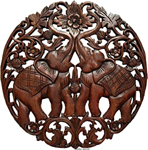 """Lucky Elephants Love Sign Wood Carved Wall Art Round Plaque. Asian Home Decor. 24"""" (Brown)"""