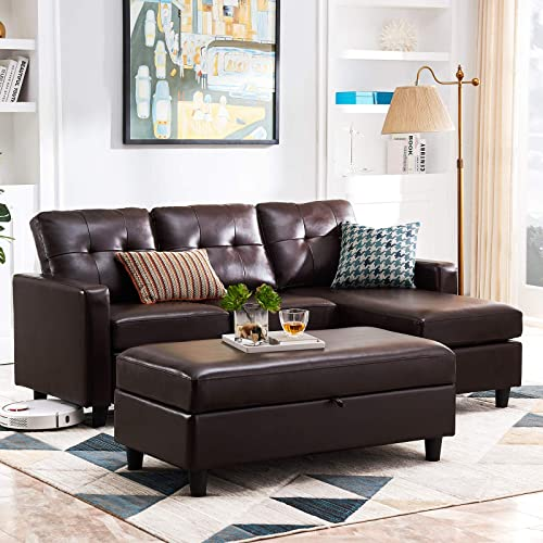 HONBAY Leather Sectional Couch with Ottoman Sofa Set with Chaise L Shape Couch Sleeper with Storage Ottoman Brown
