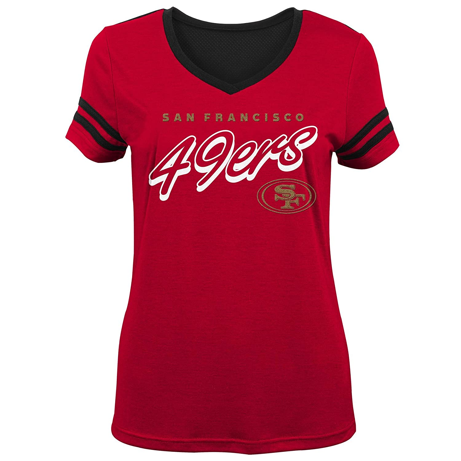 Outerstuff NFL NFL San Francisco 49ers Youth Girls Sound Wave Short Sleeve Tee Crimson Youth Large 14