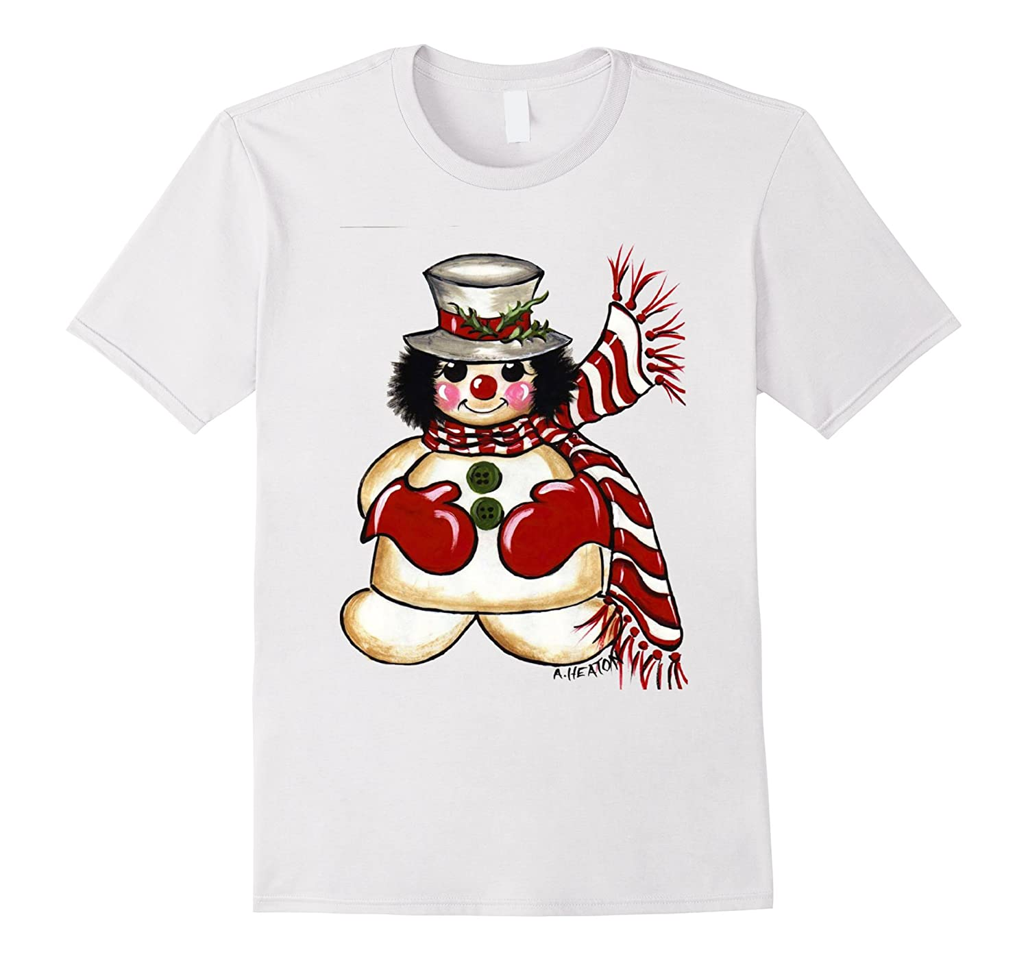 British Snowman with Scarf and Hat Christmas Shirt-RT