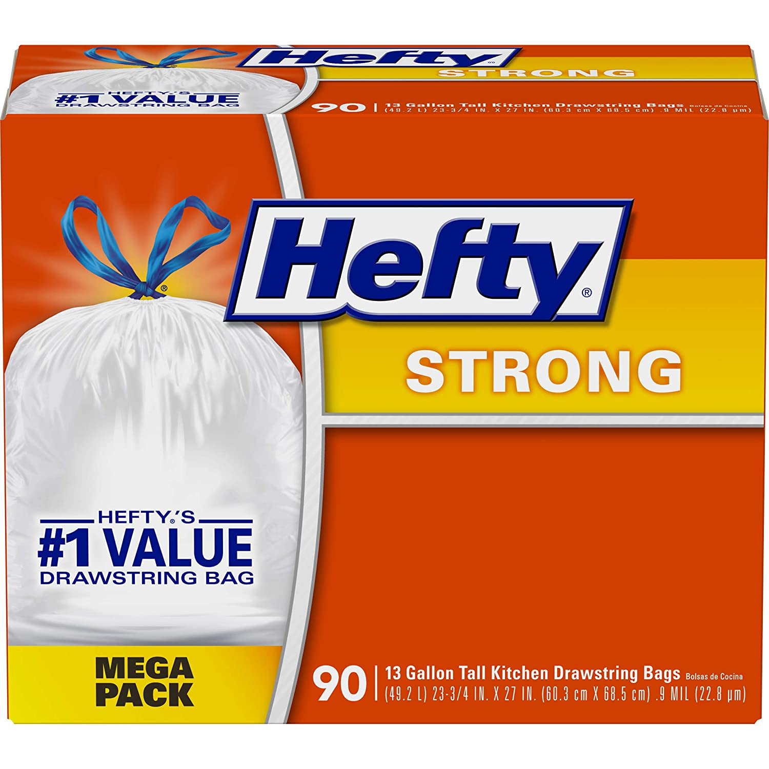 Hefty Strong Tall Kitchen Trash Bags, 90 Count