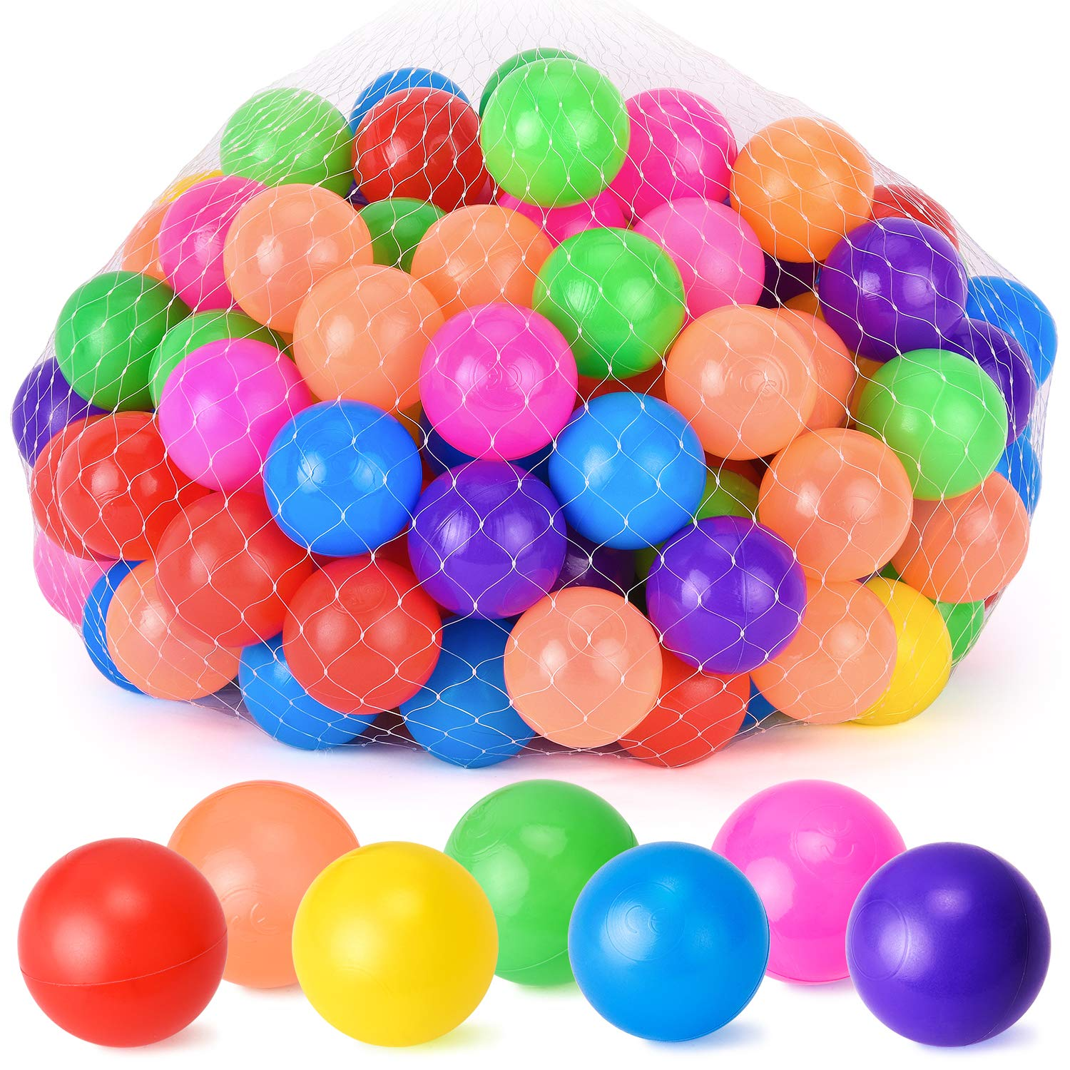 Rainbrace Ball Pit Balls, Soft Plastic Kids Play Balls Pack of 100 Crush Proof Balls - Non Toxic Phthalate Free BPA Free Ideal for Baby or Toddler Ball Pit, Kiddie Pool, Parties (7 Bright Colors)