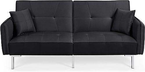 YAHEETECH Futon Sofa Couch Convertible Sofa Sleeper Bed - a good cheap living room sofa