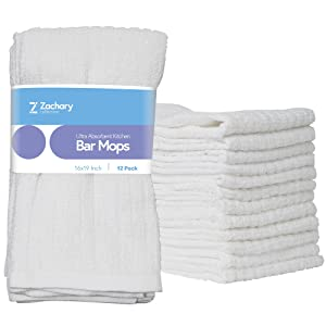 "Zachary Collection Cleaning Towels [12 Pack - 16"" x 19""] Kitchen White Ultra Absorbent Bar Mops, 100% Cotton Dish Cloths, Utility Rags, Hand Washcloths"