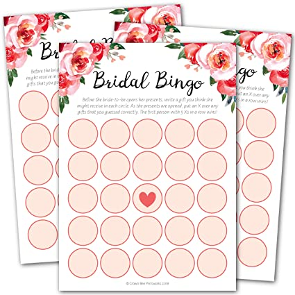 bridal shower bingo game 50
