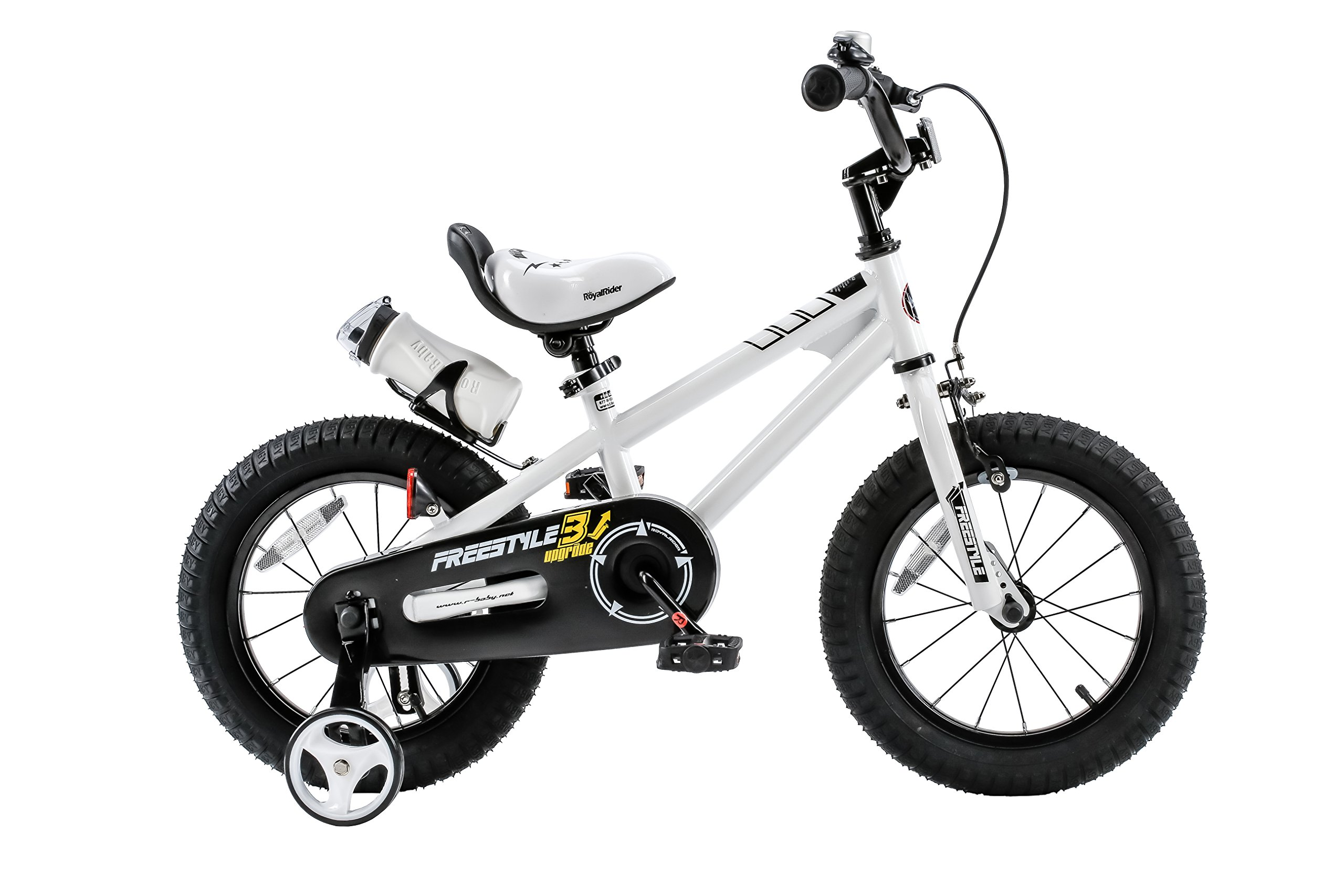 Royalbaby Freestyle Kid's Bike, 16 inch with Training Wheels and Kickstand, White, Gift for Boys and Girls