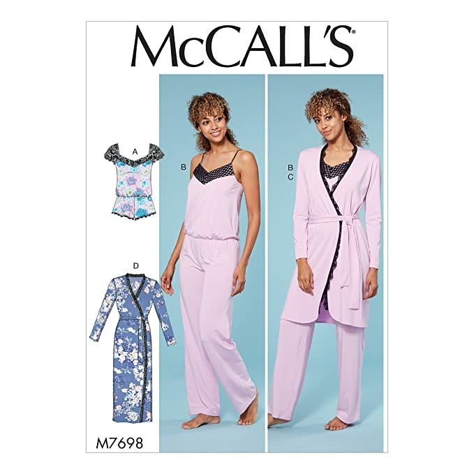 Amazon.com: McCall Patterns M7698A50 Misses Lounge Romper/Jumpsuit/Robes and Belt: Arts, Crafts & Sewing